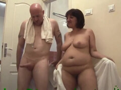 Kinky freak fucks mature chubby slut