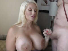 Alura Jenson Femdom Handjob - monster tits on mature mom pornstar