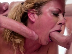 Throated Eager mom tastes cock juice during blowbang
