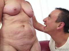 Brunette GILF with big natural tits fucks younger stud - hardcore with cumshot