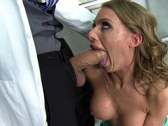 Nurse Juelz Ventura gives blowjob love pole in a latex corset