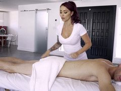 Redhead pulls a fuck tool on the massage table and moreover she is fucked