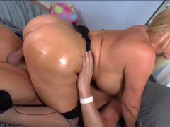 Big-booty milf Karen Fisher gets a steady fucking from her man while buzzing her clit with a vibrator