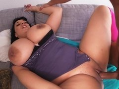 Sizeable porky gal moves her mbuttive butt over the guys hard on