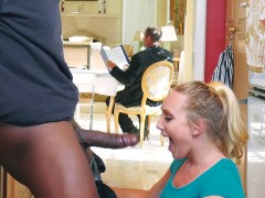 AJ Applegate sucks cock right behind her father's back