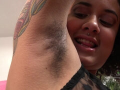 Chubby mulatto with hairy armpits and pussy