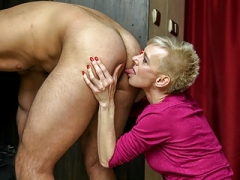 CFNM Hot Granny Anal licking in The Locker Room