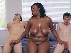 Voluptuous black MILF makes boys' dreams come true