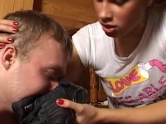 Leashed slave sniffing dirty sneakers & armpits after workout