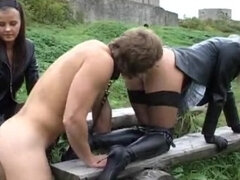Facesitting femdom & pussy ass slave worship outdoor