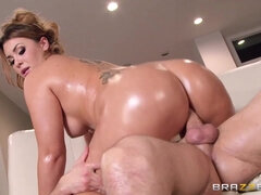 Lubed up big booty chunker riding big cock with her asshole
