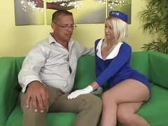 Small stewardess bouncing on oldmans purple rod
