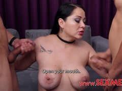 Threesome Gangbang with hot Mexican MILF - Latina takes 2 dicks and mouthful cumshots