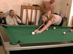Whore receives four cumshots after losing pool game