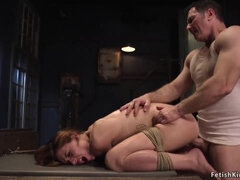 Tradesman rough bangs bound brunette