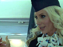blond and brunette air hostesses smash with a faux-cock