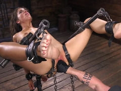 BDSM porn video of curly girl's humiliation on camera