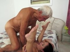 Granddad that's really aroused is having an intercourse a tight little hoe