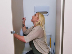 Nina Kay blows off off gloryhole cum cannon and moreover swallows the cum