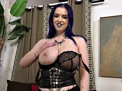 Breasty Goth Larking Love does Tugjob