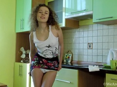Viola R gets naked in kitchen and rubs herself