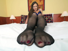 Dude realizes his foot fetishes with charming babe Tina Kay