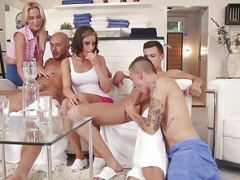 Bi-curious real hardcore orgy hunks pounding pussy and butt