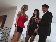 A wide and plus a mistress perform in a hot 3-way with a husband plus
