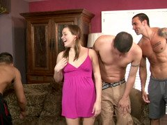Adorable pigtailed gal strips naked and moreover stars in a gangbang