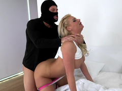 Busty blonde gets screwed by muscular burglar