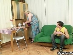 Big granny is banged by her son on law