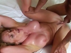 Toned housewife gets sweaty making love