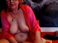Granny spreads her vagina and bum on web camera