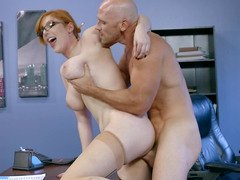 Red-haired secretary with glasses gets seduced by powerful boss