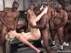 Leggy Pale MILF Gets Gangbanged By Group Of Black Guys