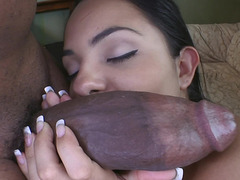 Monster purple rod stretching that slutty Latina pussy wide open