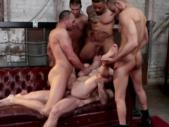 Chubby redhead gangbanged by five hungry naked stallions