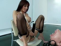 Little Slut Eats Squirt while having her Feet Shocked