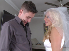 Nasty blonde bride with large boobies rides a splendid meat pole