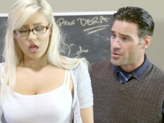 A blonde that loves unclothing is fucked in the classroom hard