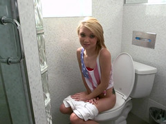 Blonde is caught giving head a knob in the bathroom on the toilet