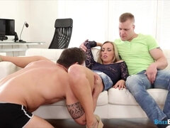 Two bisexuals joined by a foxy blonde in threesome