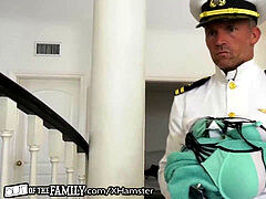 Bratty dark-hued daughter-in-law punished by Military StepDaddy