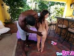 Kylie Rose rides on top of that big black purple pole
