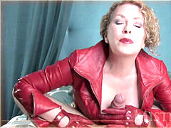 domina gifs a hand-job in red leather jacket and gloves