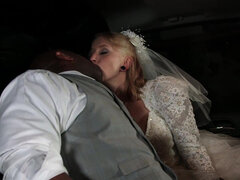 Eidyia anal taking bbc in the backseat in her wedding dress
