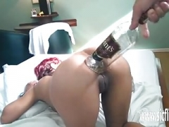 Extreme rectal fisting and whiskey bottle get down and dirty
