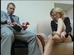 Boss penetrates secretary and cums in her pantyhose