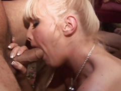 Blondes treated to a severe group sex in a close up shoot