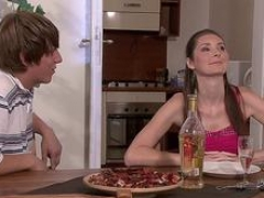 His immature wife gives blowjob and additionally rides pizza-guy knob
